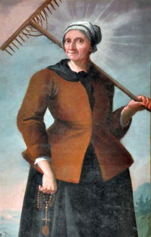 detail of the oil painting 'Saint Mary, wife of Saint Isidore the Laborer'; date and artist unknown; parish church of Holy Nikolaus, Preitenegg, Wolfsberg, Carinthia, Austria; photographed on 23 October 2010 by Johann Jaritz; swiped from Wikimedia Commons; click for source image