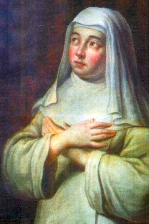 detail of a painting of Blessed Mary of Oignies, date and artist unknown; swiped from Santi e Beati; click for source image