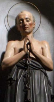 detail of a statue of Blessed Nevolo of Faenza, date and artist unknown; swiped from Santi e Beati