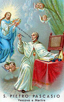 detail of an Italian holy card of Blessed Peter Paschal