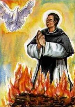 detail of a Blessed Petrus of Saint Mary holy card