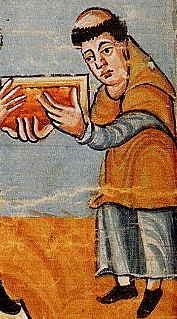 Blessed Rabanus Maurus presenting his work to Pope Gregory IV
