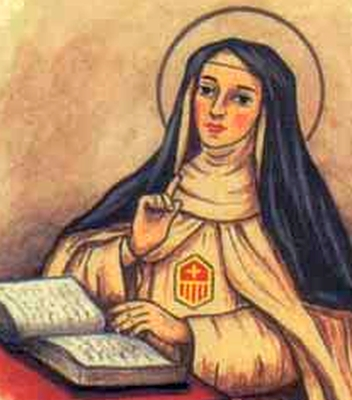 detail of an antique Italian holy card of Blessed Teresa Fernandez by Bertoni, date unknown; swiped from Santi e Beati