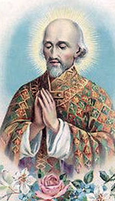 detail of an antique holy card of Blessed Thomas Hélye, date and artist unknown; swiped from Santi e Beati