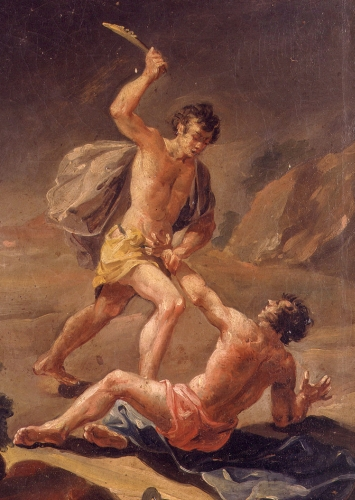 detail of the painting 'Cain and Abel'; 18th century by José Vergara Gimeno; Museu de Belles Arts de València, Spain; swiped from Wikimedia Commons; click for source image