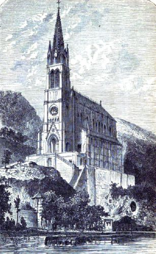 engraving of the Church of Our Lady of Lourdes, artist unknown, printed in the 1873 Illustrated Catholic Family Annual