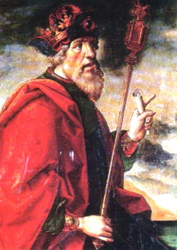 detail of a painting of Esdras the Prophet, date and artist unknown; swiped from Santi e Beati; click for source image