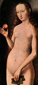 detail from 'Adam and Eve' by Hans Memling, 15th century, oil on oak, Kunsthistorisches Museum, Vienna, Austria