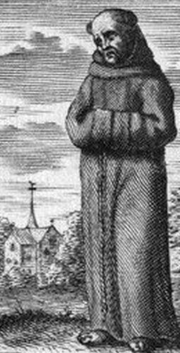 17th century line engraving of Father John Genings, artist unknown