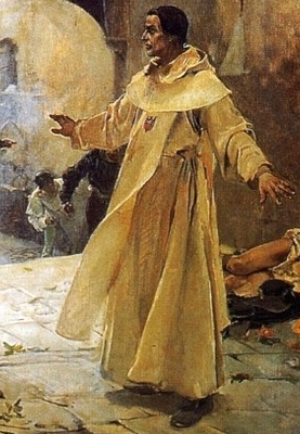 detail of an oil painting of El Padre Jofré defending a mentally ill person from a mob; 1887 by Joaquín Sorolla; Palacio de la Generalidad Valenciana, Spain; swiped from Wikimedia Commons; click for source image
