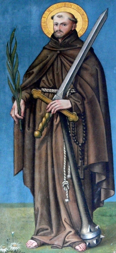 detail of a wall painting of Saint Fidelis of Sigmaringen;  date unknown, artist unknown; Church of Saint Venantius, Pfärrenbach,  Horgenzell, Germany; photographed in 2006 by Andreas Praefcke; swiped from Wikimedia Commons
