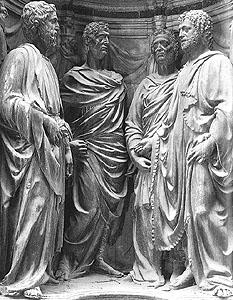 the statuary 'Quattro Santi Coronati' by Nanni di Banco, 1408-1413, marble, Orsanmichele, Florence, Italy