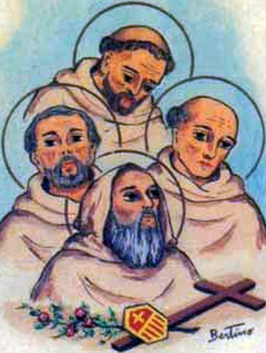 detail of an antique holy card of the Four Mercedarians by Bertoni, date unknown; swiped from Santi e Beati