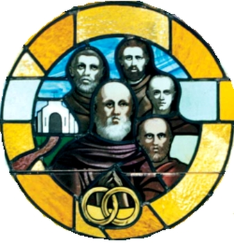 detail of a stained glass window of the Franciscan Martyrs of Georgia, date and artist unknown