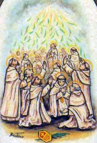 detail of an antique Italian holy card of the 48 French Mercedarian Martyrs by Bertoni, date unknown; swiped from Santi e Beati