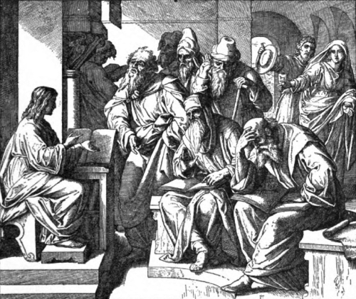 illustration of Jesus Teaching in the Temple from Goffine's Devout Instructions