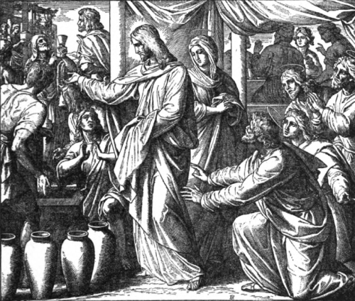 Goffine's Devout Instructions illustration of Christ changing water to wine at the wedding of Cana