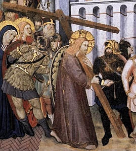 detail of 'The Road to Calvary', by Pietro LORENZETTI, c.1320, Lower Church, San Francesco, Assisi, Italy
