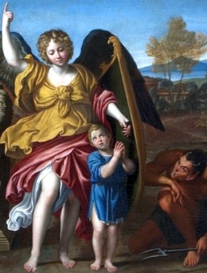 detail of a painting of a Guardian angel, Domenico Zampieri, 1615, Museum of King Jan III's Palace at Wilanów, Poland