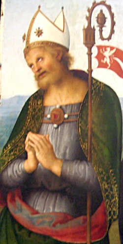 detail of a painting of Saint Herculan; 1505 by Le Perugin; Musée des Beaux-Arts de Lyon, France; photographed on 18 October 2009 by Theoliane; swiped from Wikimedia Commons; click for source image
