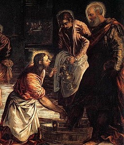 detail from 'Christ Washing His Disciples Feet', by Tintoretto, c.1547, oil on canvas, Museo del Prado, Madrid, Spain