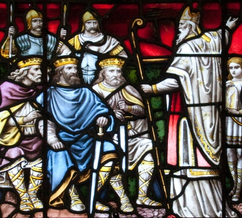 detail of a stained glass window of Saint Patrick preaching to the kings in Ireland; created by Franz Mayer and Co in the 19th century; north transept of the Cathedral of the Assumption, Carlow, County Carlow, Ireland; photographed on 3 September 2009 by Andres F Borchert; swiped from Wikimedia Commons