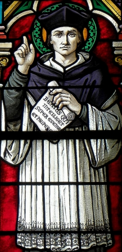 detail of stained glass window of Saint Ivo of Kermartin; date unknown, artist unknown; church of Saint-Pierre-et-Saint-Paul, Étrelles, France; photographed on 28 May 2014 by GO69; swiped from Wikimedia Commons; click for source image