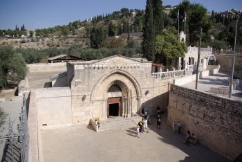 exterior of the Tomb of Mary in Jerusalem; photographed on 10 November 2008 by Berthold Werner; swiped from Wikimedia Commons