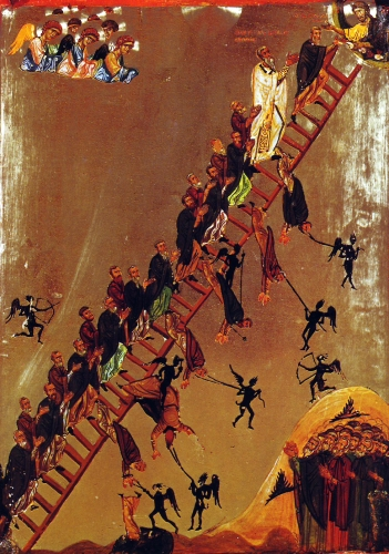 detail of a painting of monks of the Ladder of Divine Ascent as described in the vision of Saint John Climacus, the 30 rungs symbolizing Saint John's 30 virtues; latter 12th century, artist unknown; Saint Catherine's Monastery, Sinai, Egypt; swiped from Wikimedia Commons; click for source image