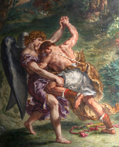 detail of the fresco 'Jacob Wrestling with the Angel' by Eugène Delacroix; Église Saint-Sulpice, Paris, France; photographed on 24 October 2005 by Gloumouth1; swiped from Wikimedia Commons