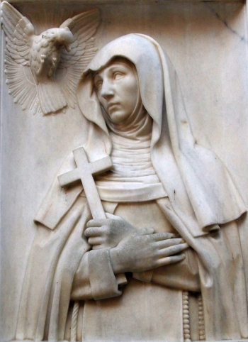 bas-relief sculpture of Saint Maria Crescentia Hoss; date and artist unknown; monastery church, Kaufbeuren, Germany; photographed on 23 April 2012 by Angela Huster; swiped from Wikimedia Commons; click for source image