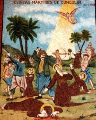 detail of a 17th century painting depicting the martyrdom of the five Jesuits in Cuncolim, Goa, India; date and artist unknown; swiped from Wikimedia Commons