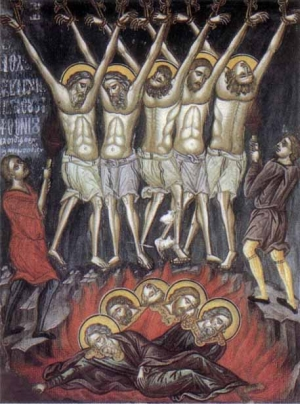 detail of an Italian holy card of the Martyrs of Isfahan, date and artist unknown; swiped from Santi e Beati