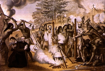 illustration of the martyrdom of the Martyrs of North America, c.1927 by unknown Jesuit; swiped from Wikimedia Commons; click for source image