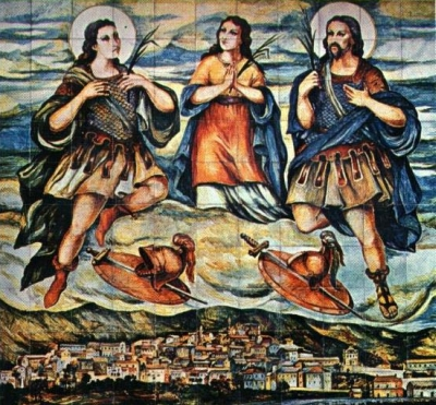 painting of the Martyrs of Venafro, date and artist unknown; swiped from Santi e Beati; click for source image
