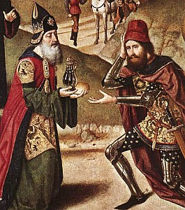 detail from the painting 'Meeting of Abraham and Melchizedek' by Dieric Bouts the Elder, c.1465; swiped off the Wikimedia Commons