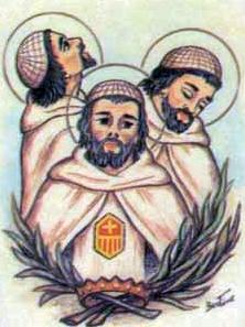 detail of an Italian holy card of the Mercedarian Martyrs of Damietta by Bertoni, date unknown; swiped from Santi e Beati