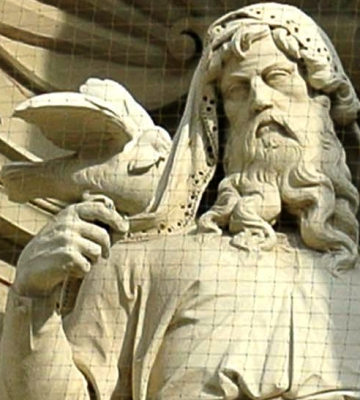 detail of a photograph of a statue of Noah the