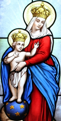 stained glass image of Our Lady of Victory in the funeral chapel of the Tomb of Rivière-Anglade,