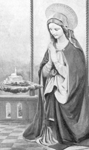 detail of a painting of Our Lady of Washington kneeling in prayer for the success of the National Shrine of the Immaculate Conception; Frederick de Henwood; adapted from the original statue of Our Lady of Washington; taken from the book 'The National Shrine of the Immaculate Conception, 1917-1927