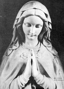 statue 'Our Lady of Washington'; thousands of photographs of this image were distributed in homes around America at the time of the construction of the National Shrine of the Immaculate Conception, the home of the statue; taken from the book 'The National Shrine of the Immaculate Conception, 1917-1927