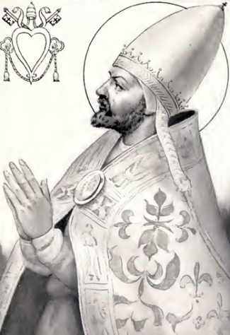 illustration of Pope Benedict II from 'The Lives and Times of the Popes', by Chevalier Artaud de Montor, 1842; swiped from Wikimedia Commons