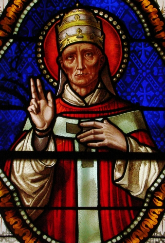 detail of a stained glass window of Pope Blessed Urban V in the church of Saint Martin of Florac, date and artist unknown; photographed on 6 January 2009 by Vassil; swiped from Wikimedia Commons