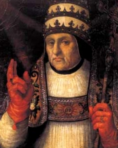detail of a portrait of Pope Callistus III by Joan de Joanes, 1568; Cathedral of Valencia, Spain