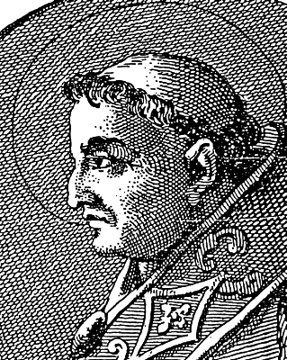 illustration of Pope Celestine I, 1899; swiped from Wikimedia Commons