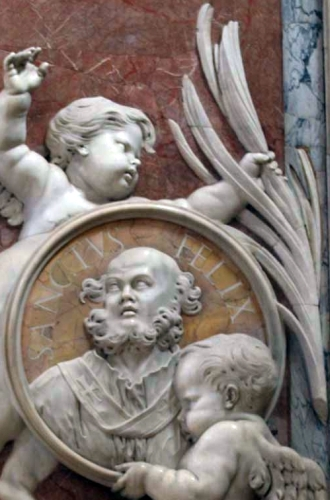 detail of a bas-relief portrait medallion of Pope Felix I, date and artist unknown; Saint Peter's Basilica, Rome, Italy