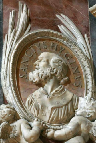 detail of a bas-relief portrait medallion of Pope Hyginus, date and artist unknown; Saint Peter's Basilica, Rome, Italy