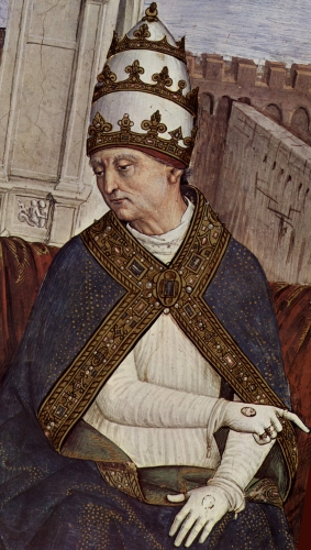 detail of a fresco of Pope Pius II by Pinturicchio, c.1504, Siena, Italy