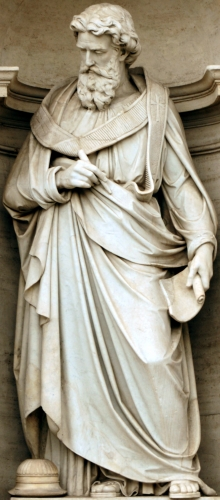 statue of Pope Saint Alexander I, 1864 by E Amadori; Porta Pia, Rome, Italy; photographed on 14 January 2015 by Livioandronico2013; swiped from Wikimedia Commons