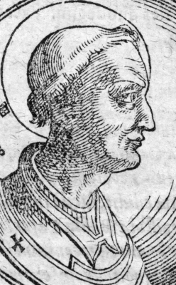 illustration of Pope Boniface I, c.1600, artist unknown; Berlin State Library - Prussian Cultural Heritage, Manuscripts Department, Berlin, Germany; swiped from Wikimedia Commons